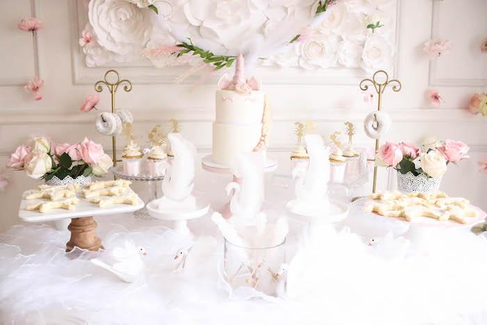 Unicorn sweet table from a Floral Unicorn Birthday Party on Kara's Party Ideas | KarasPartyIdeas.com (30)