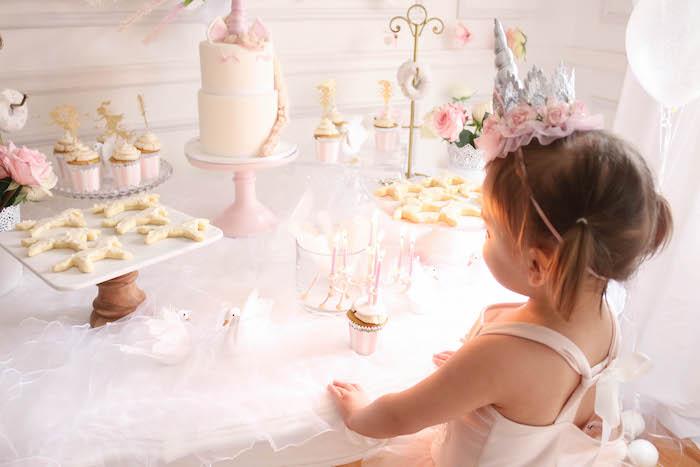 Sweet table from a Floral Unicorn Birthday Party on Kara's Party Ideas | KarasPartyIdeas.com (10)