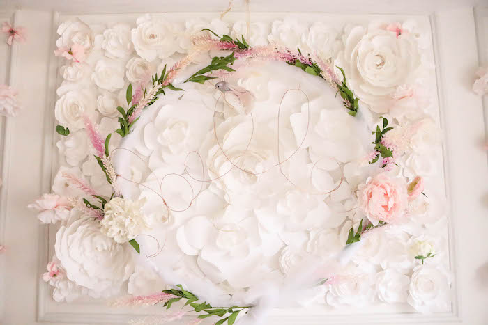 Flower wall backdrop from a Floral Unicorn Birthday Party on Kara's Party Ideas | KarasPartyIdeas.com (28)