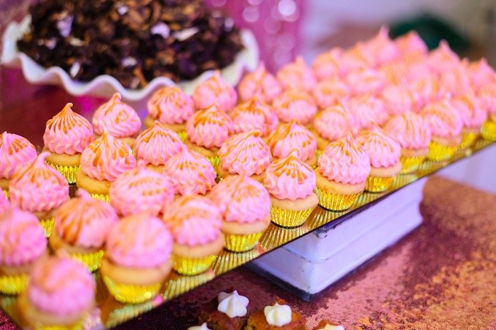 Pink glam cupcakes from a Glam Royal Princess Birthday Ball on Kara's Party Ideas | KarasPartyIdeas.com (22)
