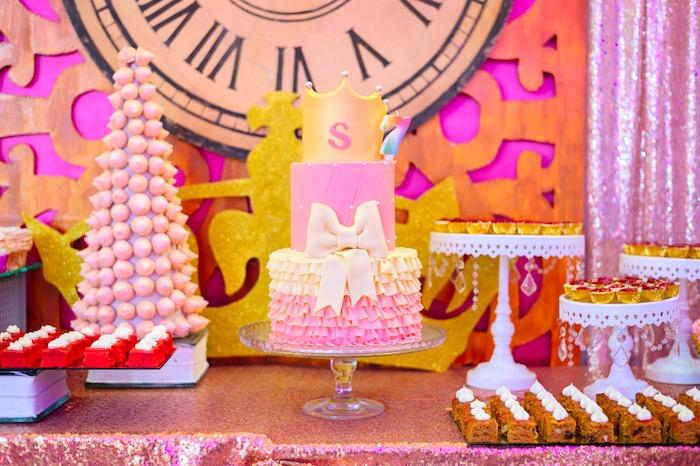 Cakescape from a Glam Royal Princess Birthday Ball on Kara's Party Ideas   KarasPartyIdeas.com (20)