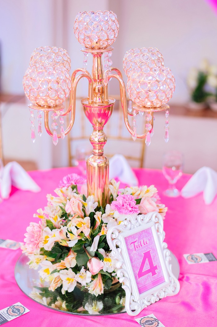 Chandelier candleabra centerpiece from a Glam Royal Princess Birthday Ball on Kara's Party Ideas | KarasPartyIdeas.com (19)