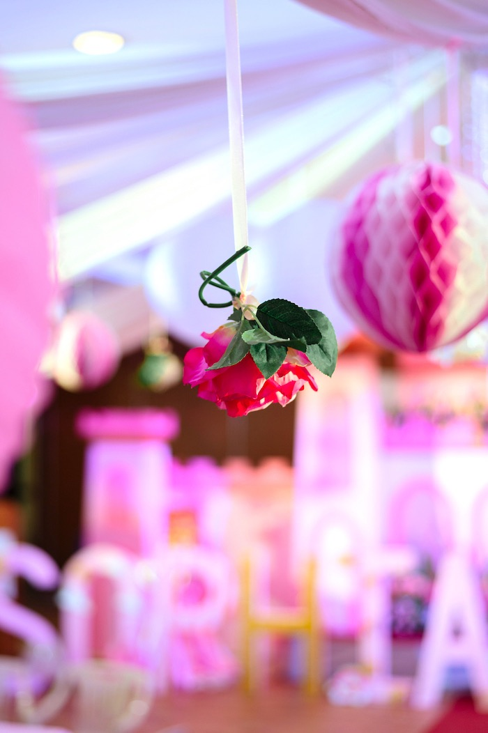 Hanging flower from a Glam Royal Princess Birthday Ball on Kara's Party Ideas | KarasPartyIdeas.com (17)