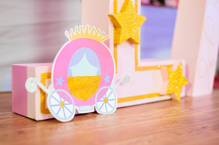 Letters decorated with carriage & decor from a Glam Royal Princess Birthday Ball on Kara's Party Ideas | KarasPartyIdeas.com (16)