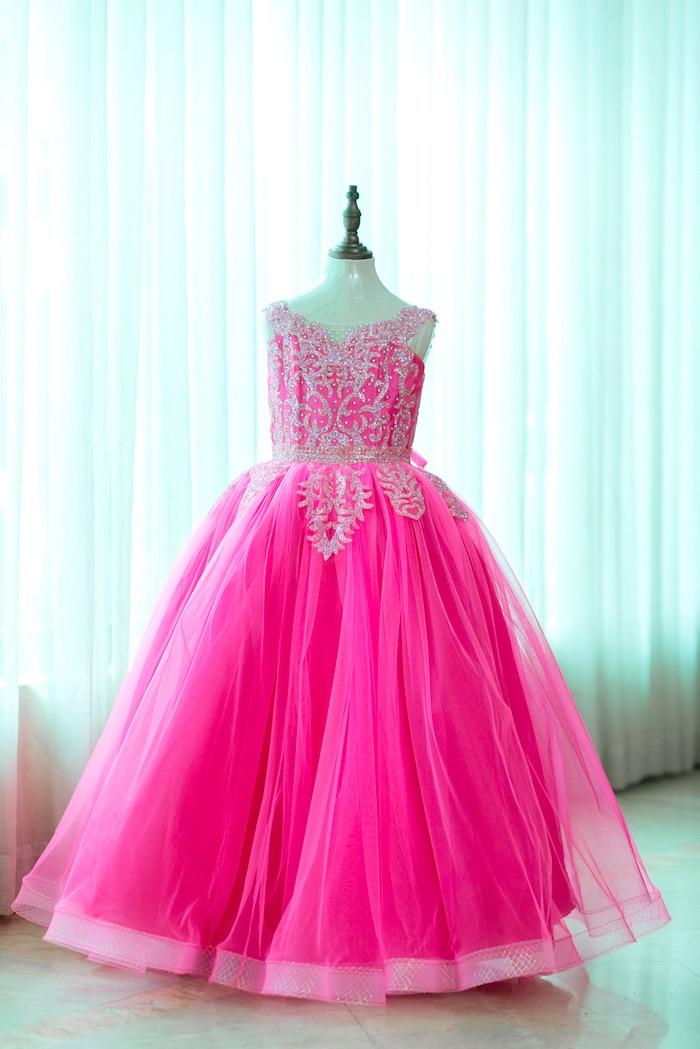 Pink princess dress from a Glam Royal Princess Birthday Ball on Kara's Party Ideas   KarasPartyIdeas.com (13)