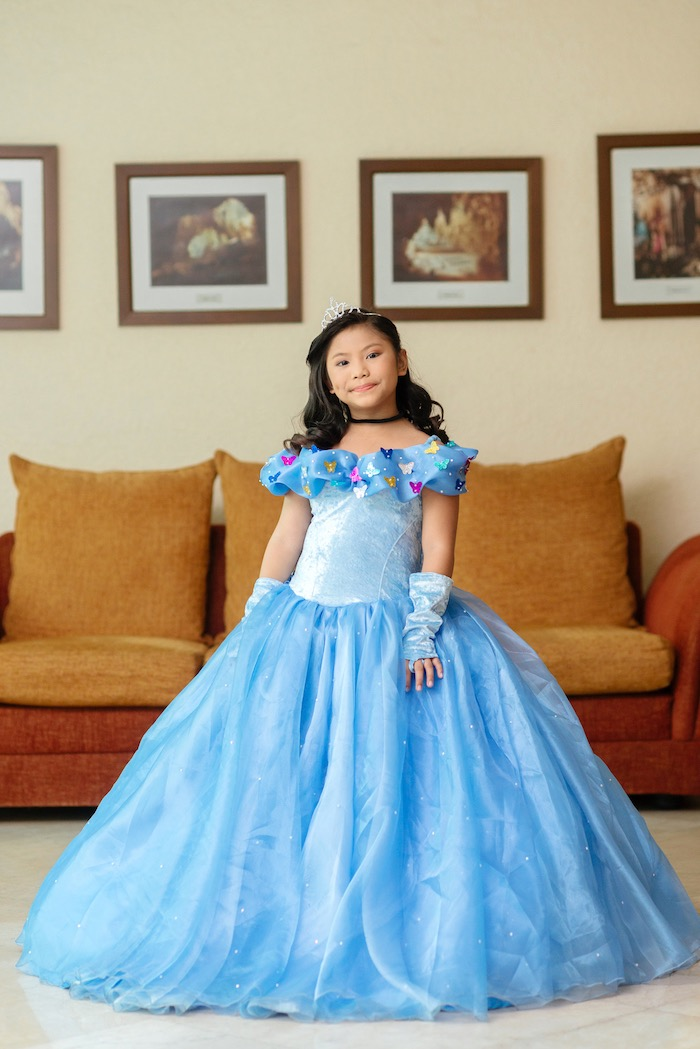Princess in blue from a Glam Royal Princess Birthday Ball on Kara's Party Ideas | KarasPartyIdeas.com (12)