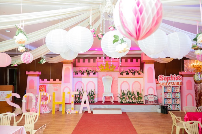 Royal castlescape from a Glam Royal Princess Birthday Ball on Kara's Party Ideas | KarasPartyIdeas.com (11)