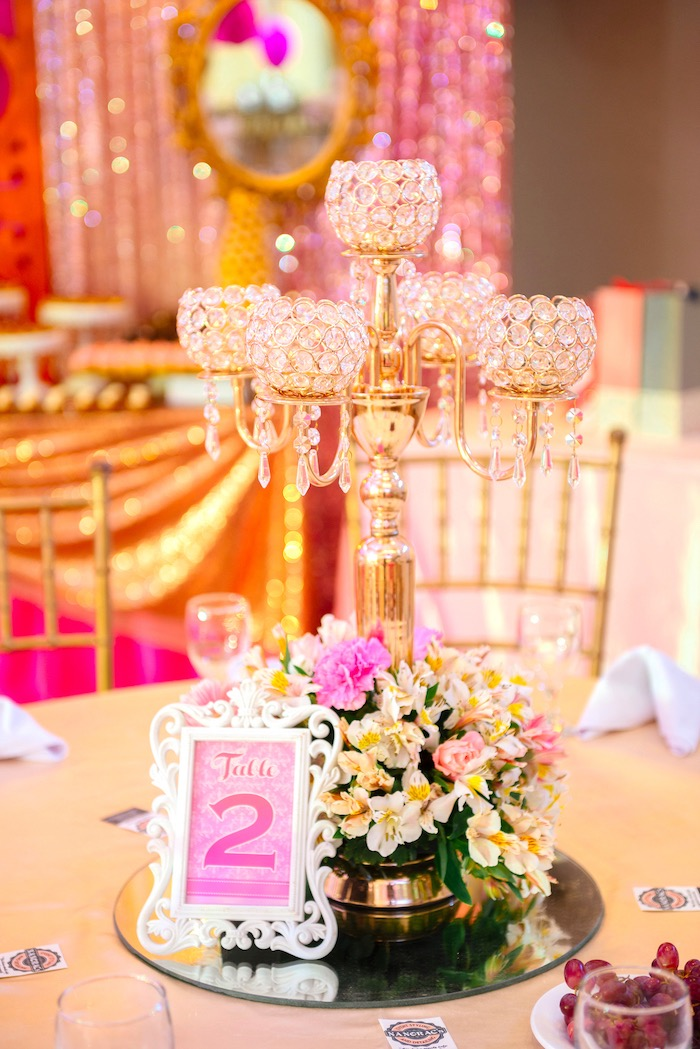 Chandelier table centerpiece from a Glam Royal Princess Birthday Ball on Kara's Party Ideas | KarasPartyIdeas.com (8)