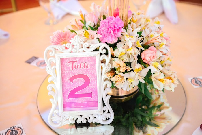 Table number with floral centerpiece from a Glam Royal Princess Birthday Ball on Kara's Party Ideas | KarasPartyIdeas.com (7)