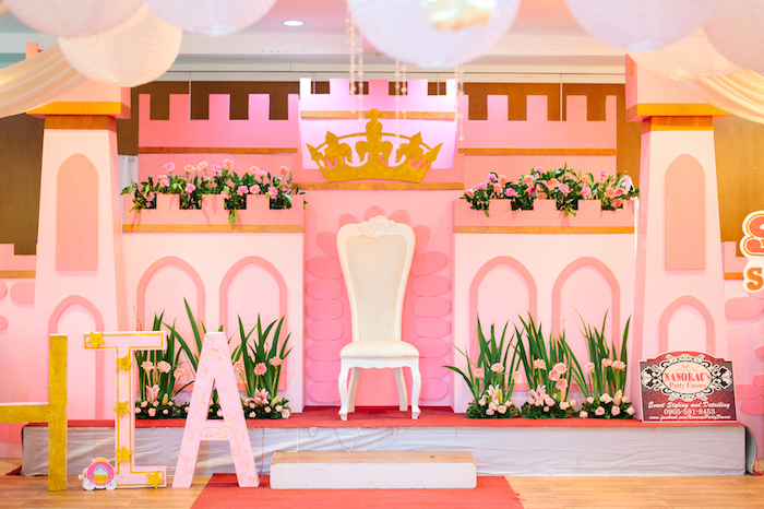 Castle backdrop from a Glam Royal Princess Birthday Ball on Kara's Party Ideas | KarasPartyIdeas.com (34)