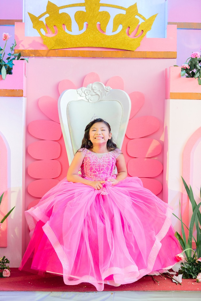 Royal Throne from a Glam Royal Princess Birthday Ball on Kara's Party Ideas | KarasPartyIdeas.com (4)