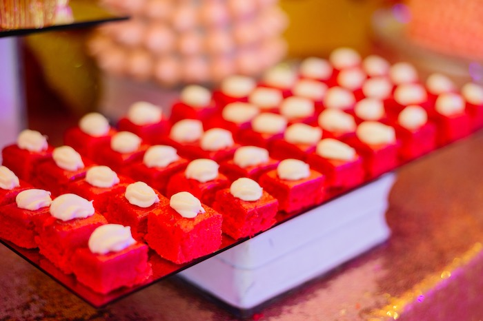 Red velvet cake squares from a Glam Royal Princess Birthday Ball on Kara's Party Ideas | KarasPartyIdeas.com (31)