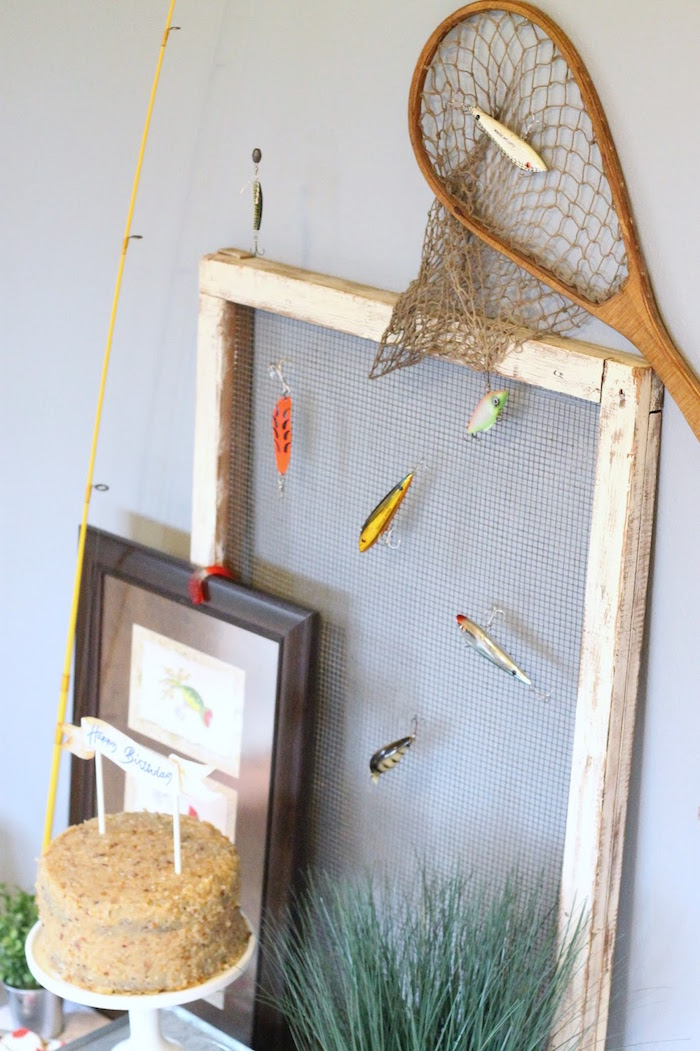 Screen adorned with lures from a Gone Fishing 35th Birthday Party on Kara's Party Ideas | KarasPartyIdeas.com (8)
