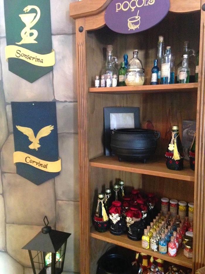 Favor shelf from a Harry Potter Birthday Party on Kara's Party Ideas | KarasPartyIdeas.com (27)