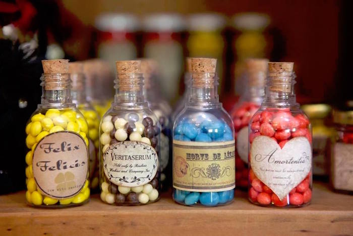 Potion candy bottles from a Harry Potter Birthday Party on Kara's Party Ideas | KarasPartyIdeas.com (14)