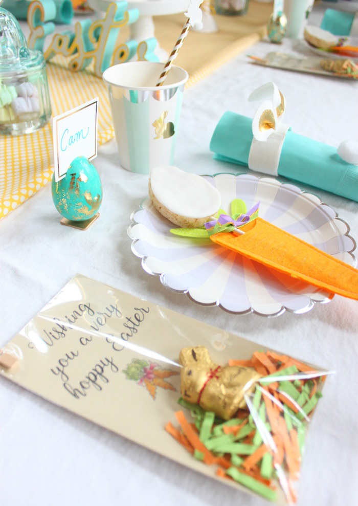 Place setting from a Hoppy Easter Party for Kids on Kara's Party Ideas | KarasPartyIdeas.com (17)