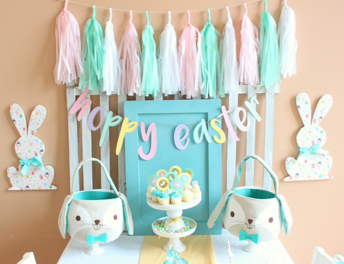 Bunny backdrop from a Hoppy Easter Party for Kids on Kara's Party Ideas | KarasPartyIdeas.com (13)