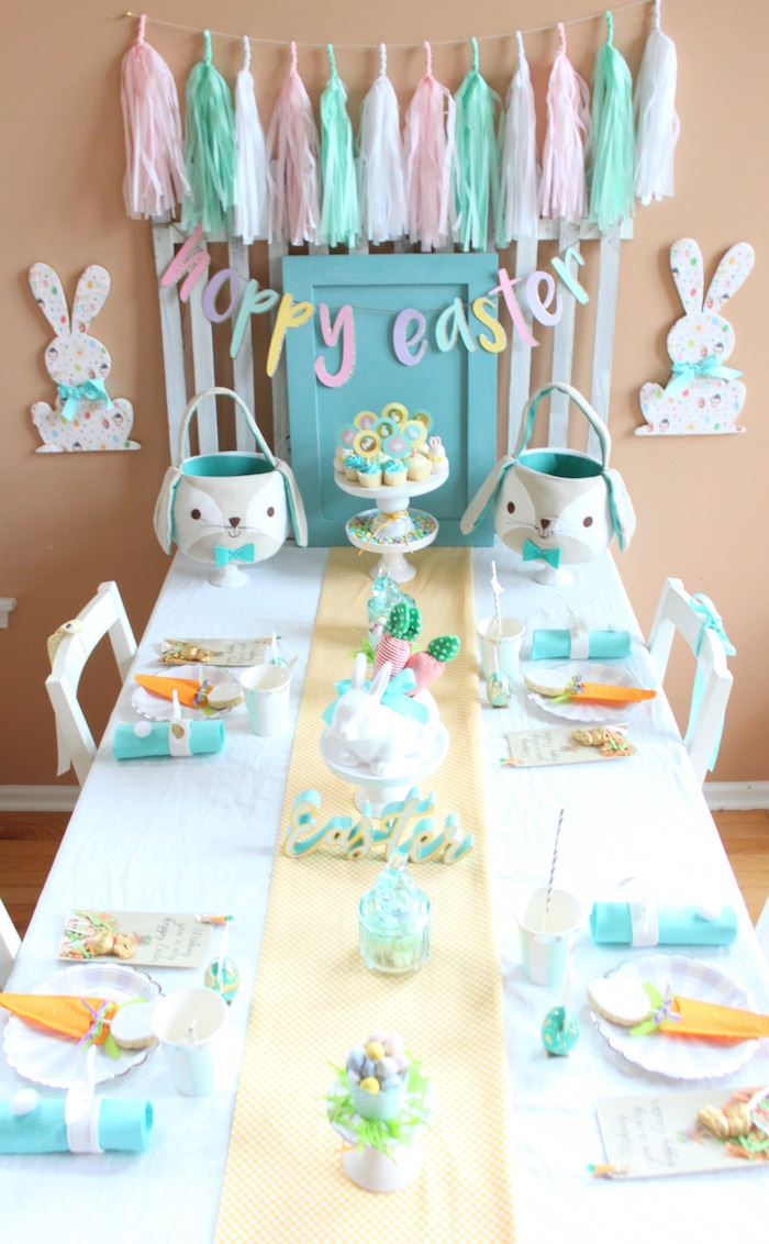 """Hoppy Easter"" kids table from a Hoppy Easter Party for Kids on Kara's Party Ideas 