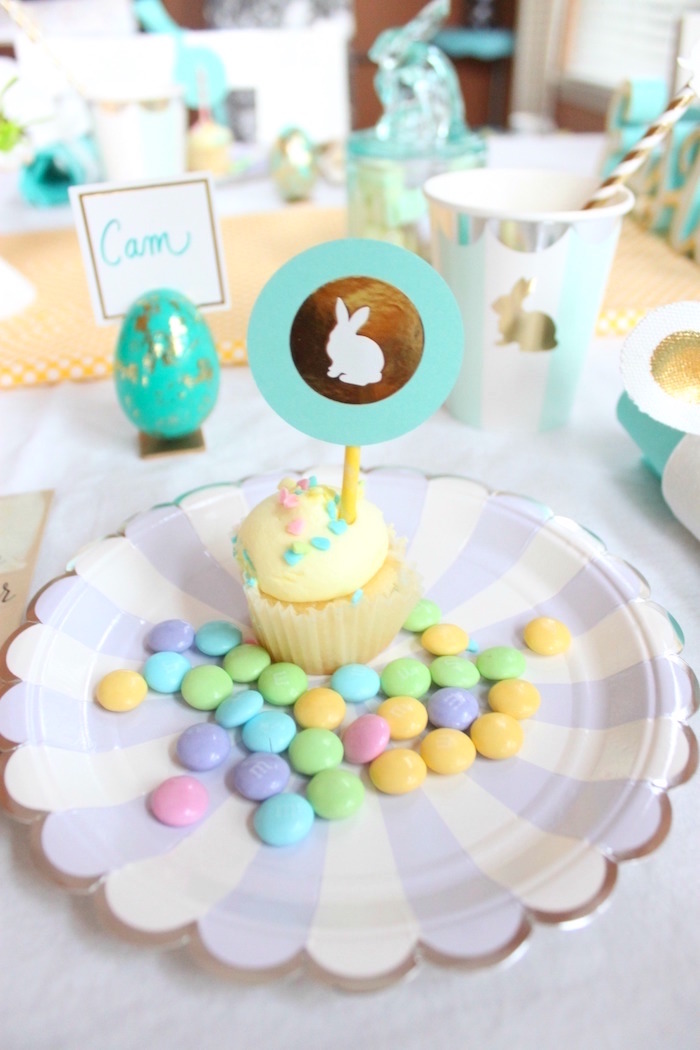 Cupcake with bunny topper from a Hoppy Easter Party for Kids on Kara's Party Ideas | KarasPartyIdeas.com (11)