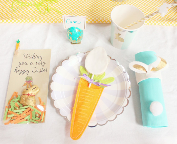 Table setting from a Hoppy Easter Party for Kids on Kara's Party Ideas | KarasPartyIdeas.com (9)