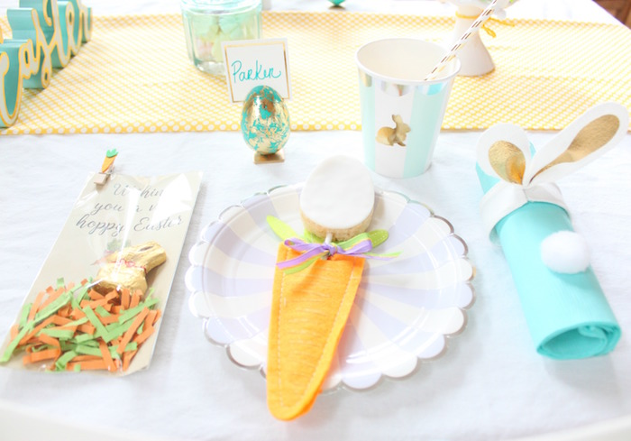 Place setting from a Hoppy Easter Party for Kids on Kara's Party Ideas | KarasPartyIdeas.com (8)