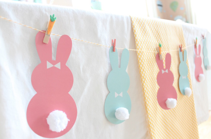 Bunny banner from a Hoppy Easter Party for Kids on Kara's Party Ideas | KarasPartyIdeas.com (26)