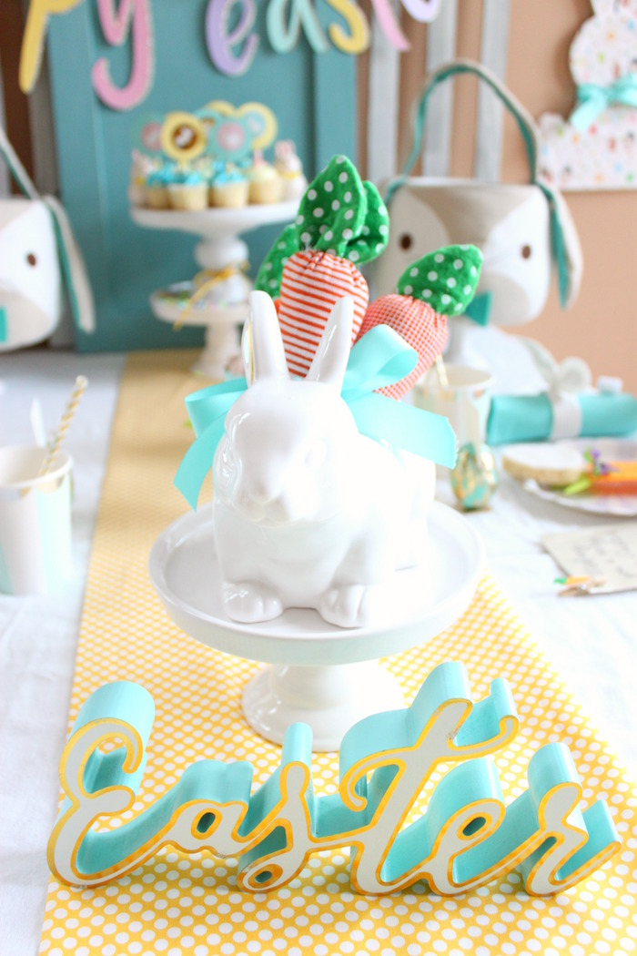 Bunny centerpiece from a Hoppy Easter Party for Kids on Kara's Party Ideas | KarasPartyIdeas.com (25)