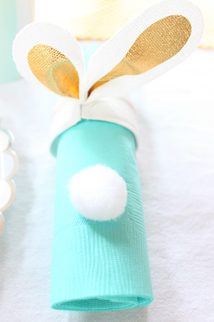 Bunny napkin from a Hoppy Easter Party for Kids on Kara's Party Ideas | KarasPartyIdeas.com (23)