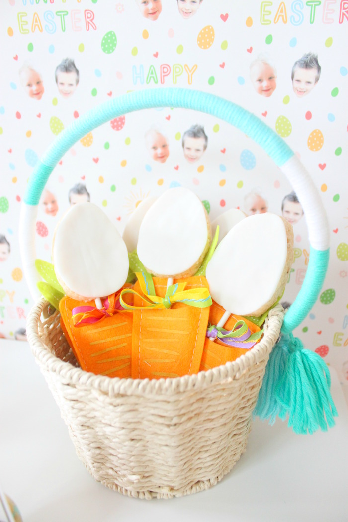 Cookie Egg Basket from a Hoppy Easter Party for Kids on Kara's Party Ideas | KarasPartyIdeas.com (21)