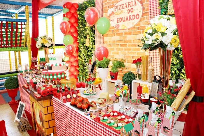 Dessert table - side view from an Italian Pizzeria Birthday Party on Kara's Party Ideas | KarasPartyIdeas.com (30)