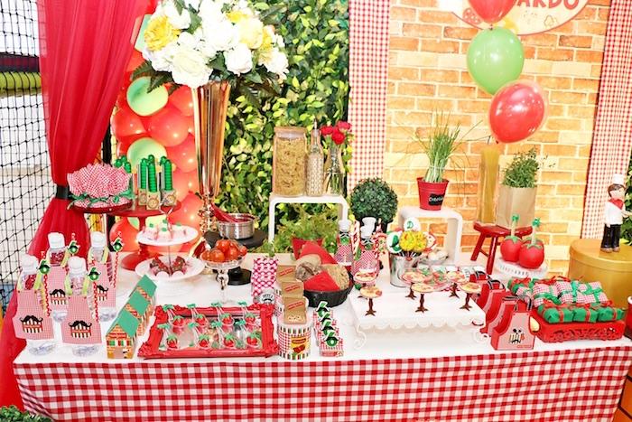 Party table from an Italian Pizzeria Birthday Party on Kara's Party Ideas | KarasPartyIdeas.com (28)