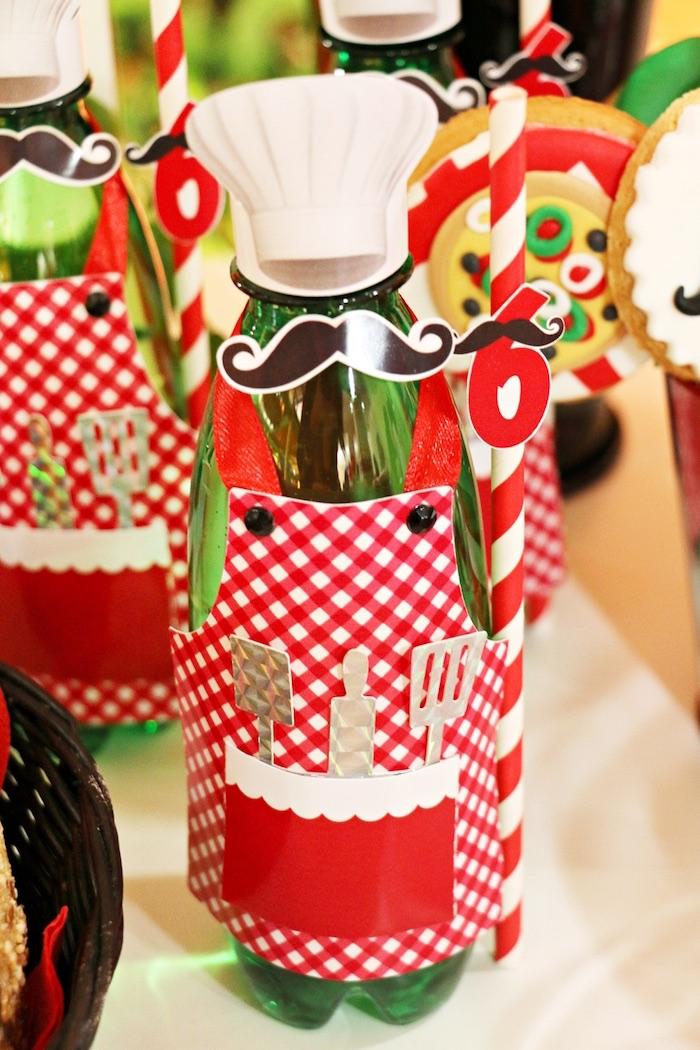 Chef drink bottle from an Italian Pizzeria Birthday Party on Kara's Party Ideas | KarasPartyIdeas.com (24)
