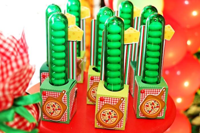 Favor tubes from an Italian Pizzeria Birthday Party on Kara's Party Ideas | KarasPartyIdeas.com (23)