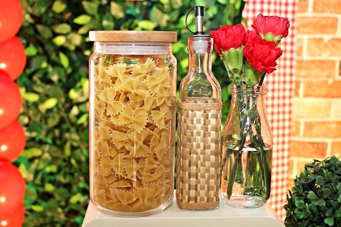 Container of pasta noodles from an Italian Pizzeria Birthday Party on Kara's Party Ideas | KarasPartyIdeas.com (21)
