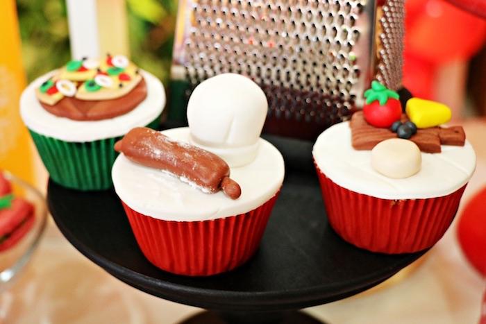 Pizzeria cupcakes from an Italian Pizzeria Birthday Party on Kara's Party Ideas | KarasPartyIdeas.com (18)
