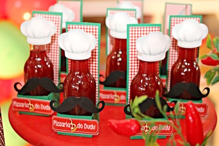 Chef drink bottles from an Italian Pizzeria Birthday Party on Kara's Party Ideas | KarasPartyIdeas.com (17)