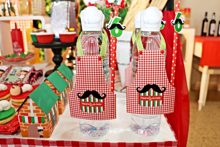 Chef water bottles from an Italian Pizzeria Birthday Party on Kara's Party Ideas | KarasPartyIdeas.com (12)
