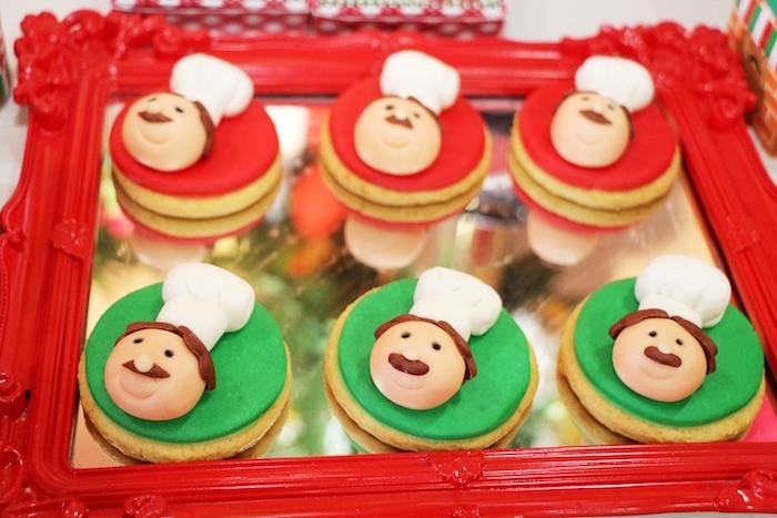 Chef sugar cookies from an Italian Pizzeria Birthday Party on Kara's Party Ideas | KarasPartyIdeas.com (8)