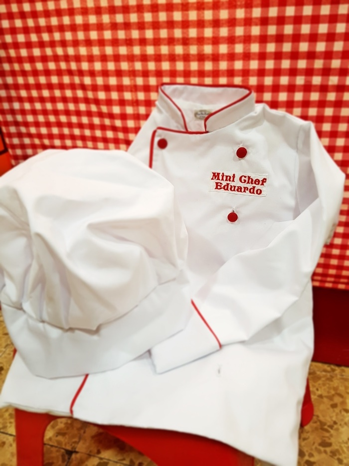 Chef hat and jacket from an Italian Pizzeria Birthday Party on Kara's Party Ideas | KarasPartyIdeas.com (6)