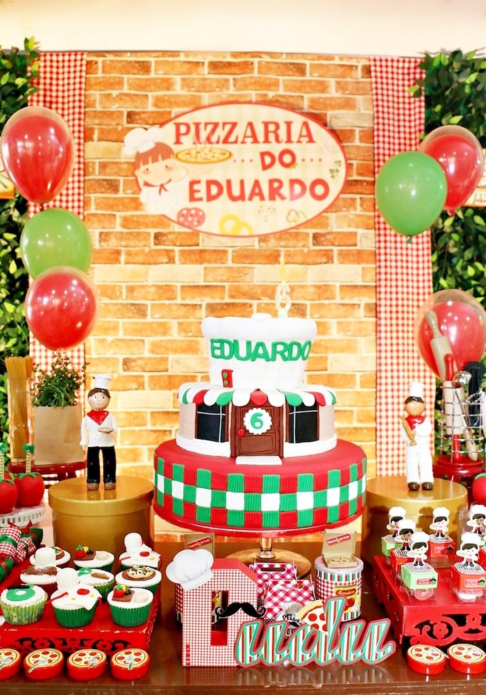 Pizzeria cake from an Italian Pizzeria Birthday Party on Kara's Party Ideas | KarasPartyIdeas.com (33)
