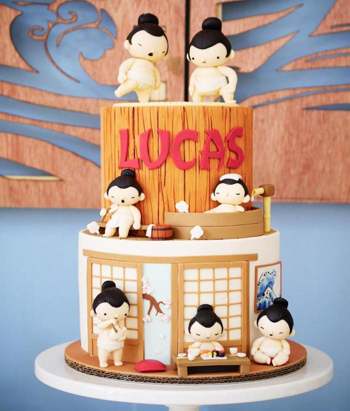 Adorable Sumo Wrestling Cake from a Japanese Sumo Birthday Party on Kara's Party Ideas | KarasPartyIdeas.com (11)