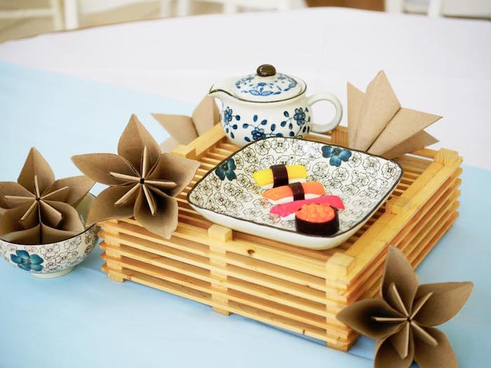 Guest table centerpiece from a Japanese Sumo Birthday Party on Kara's Party Ideas | KarasPartyIdeas.com (5)