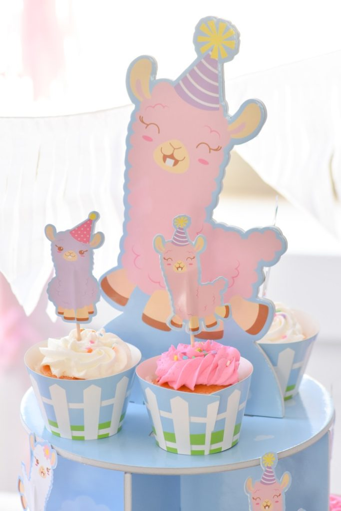 Llama cupcake tower from a Little Llama First Birthday Party via Kara's Party Ideas