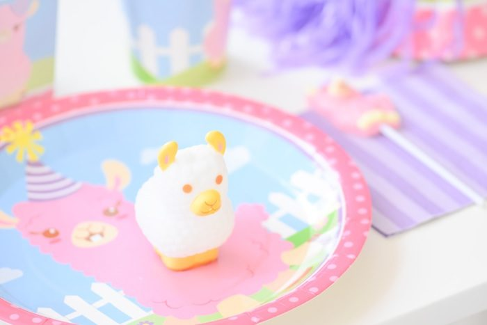 Place setting from a Little Llama First Birthday Party via Kara's Party Ideas
