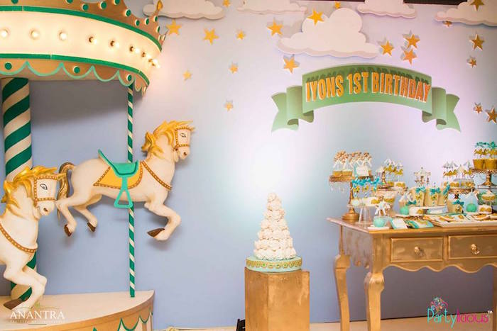 Carousel party backdrop from a Magical Carousel Birthday Party on Kara's Party Ideas | KarasPartyIdeas.com (29)
