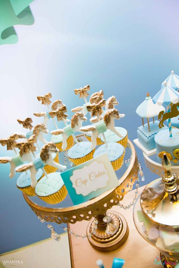 Carousel cupcakes from a Magical Carousel Birthday Party on Kara's Party Ideas | KarasPartyIdeas.com (8)