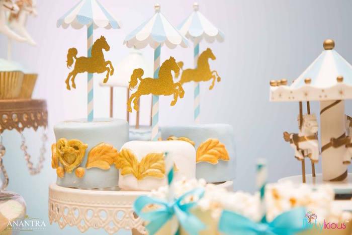 Carousel cakes from a Magical Carousel Birthday Party on Kara's Party Ideas | KarasPartyIdeas.com (6)