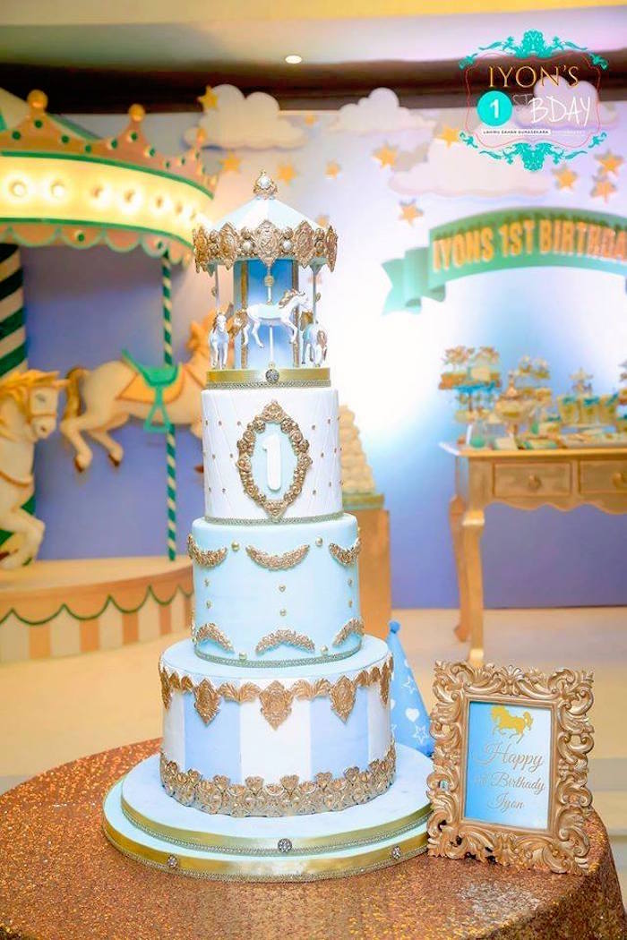Incredible Carousel Birthday Cake from a Magical Carousel Birthday Party on Kara's Party Ideas | KarasPartyIdeas.com (26)