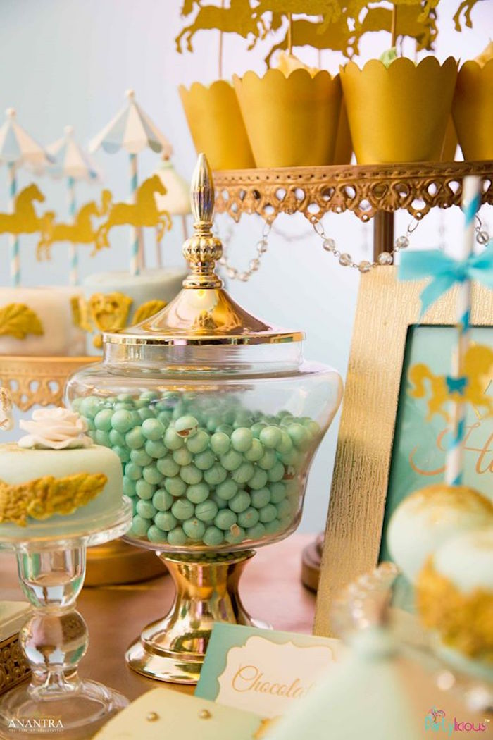Gold apothecary jar from a Magical Carousel Birthday Party on Kara's Party Ideas | KarasPartyIdeas.com (23)