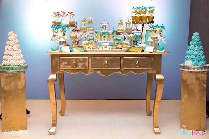 Gold dessert table from a Magical Carousel Birthday Party on Kara's Party Ideas | KarasPartyIdeas.com (22)